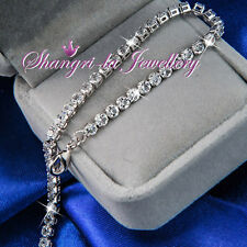 9K White GOLD GF Tennis SILVER Wedding BRACELET with Swarovski CRYSTAL L353-S
