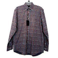 "F/X Fusion Mens Medium 42"" Sport Shirt 100% Cotton BD Collar Plaid  MSRP $50 NWT"