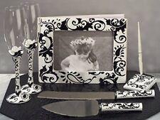 Damask Guest Book Pen Cake Server Toasting Glasses Wedding set Black white