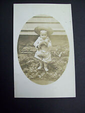 LITTLE BOY WITH TEDDIE REAL PHOTO pre 1920 postcard