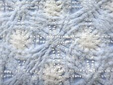 Vintage Chenille Bedspread Fabric 18x24 in FQ Sweet Baby Blue w White Clouds