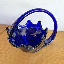 "Nooner Mid-Century American Glassware Vase Cobalt H 8 1/2"" W 12"""