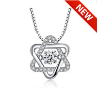 Dancing Heart Hexagram 925 Sterling Silver Necklace - Buy 1 Get 1 Free Only Tod