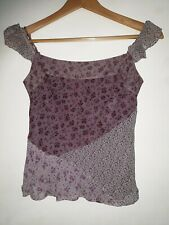 Linea Petite Ladies Silk Top Pink Brown Cream Summer Holiday Party  Floral UK 6