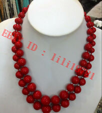 2 ROW 8-18mm AAA Coral Red South Sea Shell Pearl Round Beads Necklace 17-18""