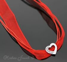 RED RIBBON & CORD 48CM CHAIN WOMENS CZ SILVER SP HEART SLIDER CHOKER NECKLACE