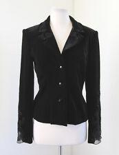 Black Velvet Sequin Beaded Mesh Blazer Jacket Evening Size 6 Velour