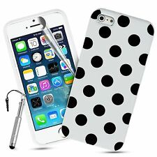 For Apple iPhone 5 5s Case Stylish Polka Dots Silicone Gel Rubber Durable Cover