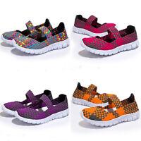KQ_ Women's Elastic Flats Shoes Ladies Breathable Casual Knit Slip On Shoes Surp