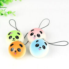 Round Panda Squishy Soft Buns Cell Phone Key Chain Bread Straps Charms Pendant