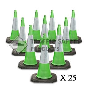 Pack of 25 - ELITE Traffic Cones 1000 mm 2 piece GREEN