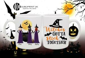 Halloween Friend / Sister / Cousin Personalised Gift Mug - Three Person