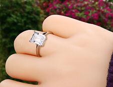 Engagement Ring Solitaire Gold White 14k 2 Ct Emerald Cut Vs Enhanced Diamond