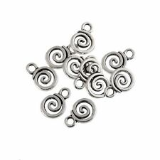 10PCS Silver Whirlpool Lollypop Candy Charms Fit Pendants Bracelet Beads 0.7*1cm