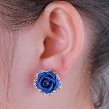 Locely Sapphire Rose Flower Pierced Ear Stud Earrings Women Lady Wedding Jewelry