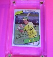 AUTOGRAPH 1980 Topps #261 Dave Chalk A's, SIGNED Baseball card auto