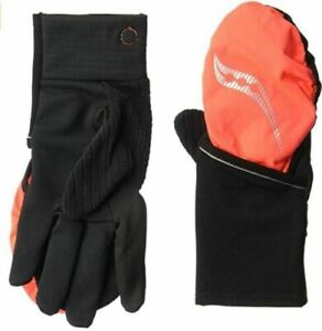 Saucony Ulti-Mitt Size XL Large Convertible Pocket Thermal Running Gloves Orange