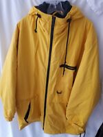 Preston & York Sport. coat jacket size L large Yellow Nylon w hood & zip pockets