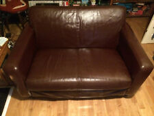 Sofa Workshop Two seater retro brown leather sofa good condition