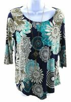 Rue Juju Top Womens Size Small Navy Blue Floral 3/4 Sleeve