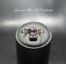 Tests as 9K Gold 9ct gold Iolite and Diamond Cluster Ring Size N 2.18g US 6 3/4