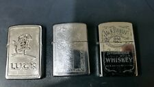 lot 3 original zippo lighters have a look old and used