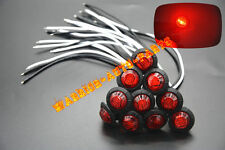 """10x 3/4"""" Marker Lights Red Triple Diode LED Truck Trailer Clearance Indicator MM"""