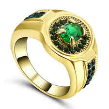 Green Emerald CZ Engagement Ring 10KT Yellow Gold Filled Wedding Band Size 8