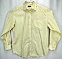 Canali Mens Shirt 17 43 Long Sleeve Button Up Yellow/White Striped Made in Italy