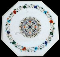 15 Inches Multi Gemstones Work Inlaid Coffee Table Marble Sofa Side Table Top