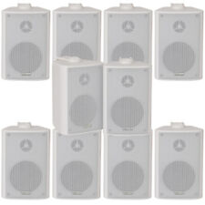 "10x 70W 2 Way White Wall Mounted Stereo Speakers –4"" 8Ohm– Mini Background Music"