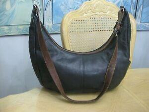 Large Black Leather Derek Alexander Hobo Style Handbag Purse