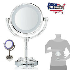 Vanity Makeup Mirror Cosmetic Tabletop Chrome LED Lighted Double Side Magnifying