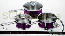 STAINLESS STEEL COOKWARE 3PC SAUCEPAN SET WITH GLASS LIDS COOKING PAN PURPLE