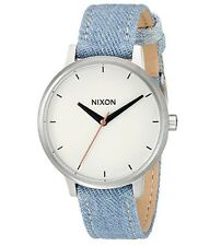 NWT Nixon A108-1601-00 The Kensington Leather Washed Denim Wome's Watch $125