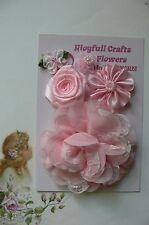 HANDMADE 5 Flower Mix LIGHT PINK Silk Organza Lace Satin 25-100mm NjoyfullCrafts