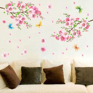 Wandtattoo Wandaufkleber Blumen Blüten Schmetterlinge Ast Baum Wohnzimmer