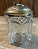 Antique Glass Tobacco Jar Humidor Apollo Silver Co. Quadruple Plate Lid Pipe