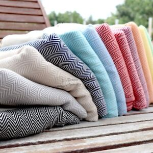 "Herringbone Turkish Towel, Bath Towel 100% Cotton 77x38"" Peshtemal Beach Towel"