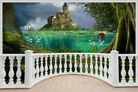 Huge 3D Balcony Enchanted Castle Wall Stickers Mural Decal Wallpaper 174