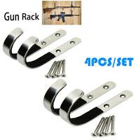 4PCS Wall Mount Gun Rack Rifle Shotgun Hanger Felt Lined Hand Made Hooks Storage
