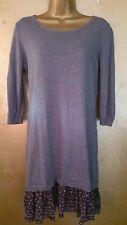 Next grey thin wool jumper dress, size 12, dot design double frill hem detail.
