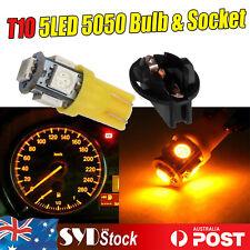 10 x T10 Amber 5050 5Led W/Sockets Base Car Clearance Wedge License Plate lights