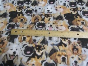2 Yards Brown/Black With Packed Dogs Toss Flannel Fabric