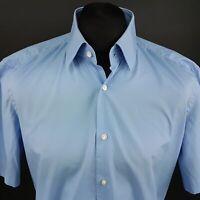 HUGO BOSS Mens Shirt 42 16.5 (LARGE) Short Sleeve Blue Regular Fit Cotton