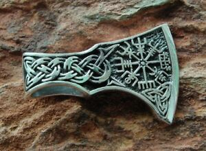 Wikinger Axt Vegvisir Thors Hammer 925 Silber Anhänger Beil #41