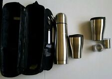 Stainless Steel Mug Thermos Set Travel Picnic Coffee Cocoa Carrying Case Spoons