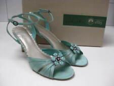 UNWORN Ladies aqua faux silk CLARKS SANDALS stilettos size UK 7 41 retro 1920s