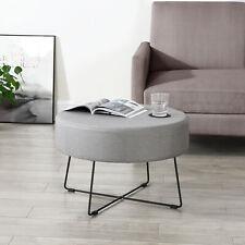 [en.casa] Couchtisch Beistelltisch Wohnzimmertisch Sofatisch Rund Stoff Grau