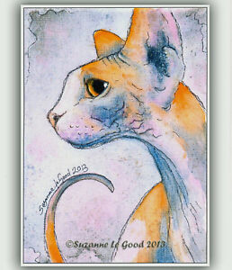 Sphynx cat art print from original painting limited edition by Suzanne Le Good